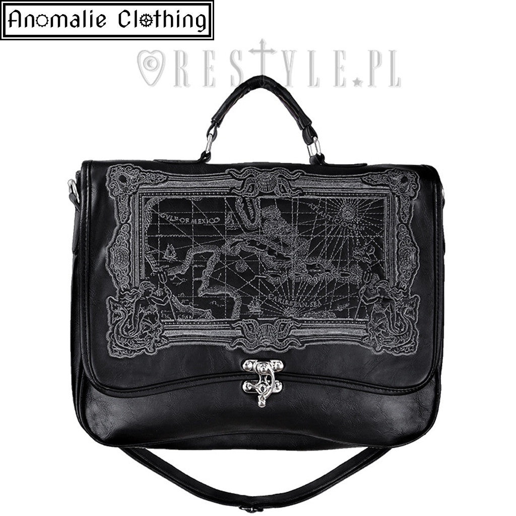 Pirate Map Briefcase Satchel in Black
