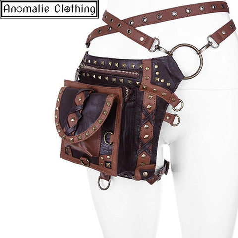 Steampunk Studded Bag Holster Belt in Brown