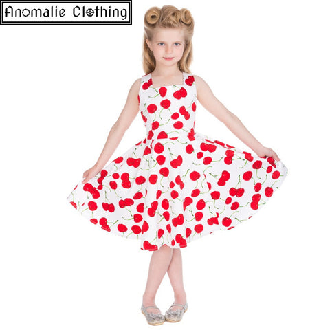 White Cherry Print Kids Swing Dress