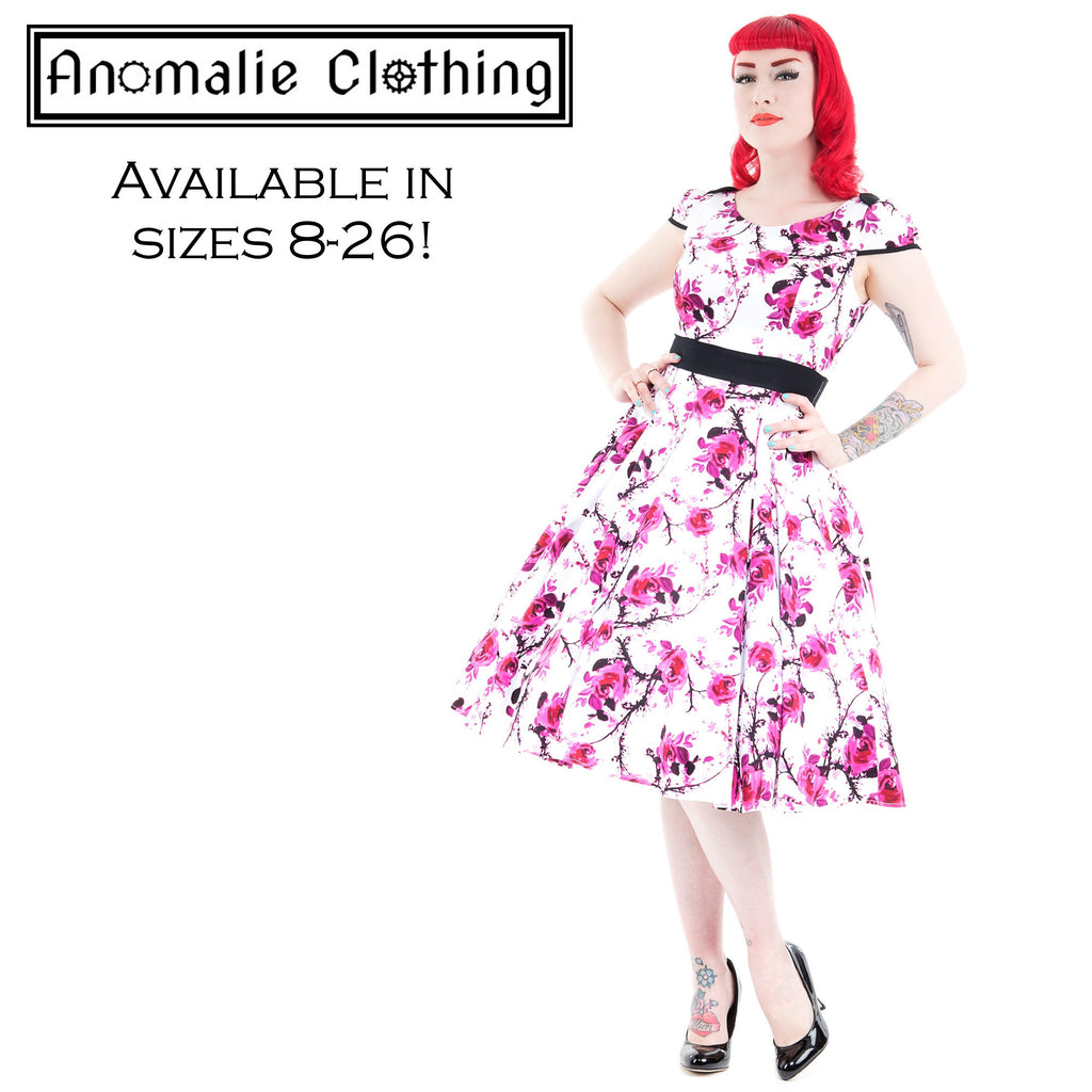 Pink & White Floral Swing Dress