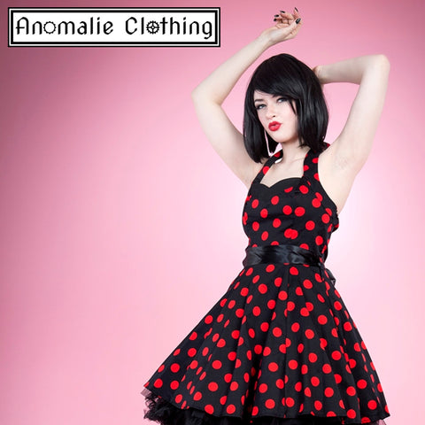 Red & Black Polka Dot Short Swing Dress
