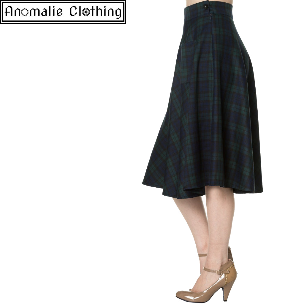 Apple of My Eye Skirt in Blue and Green Tartan