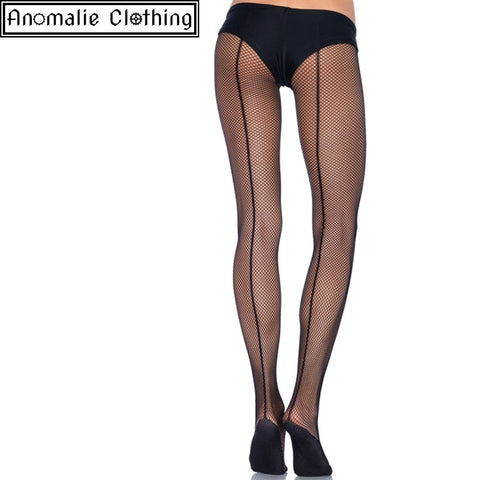 Professional Dance Wear Backseam Fishnet Tights in Black