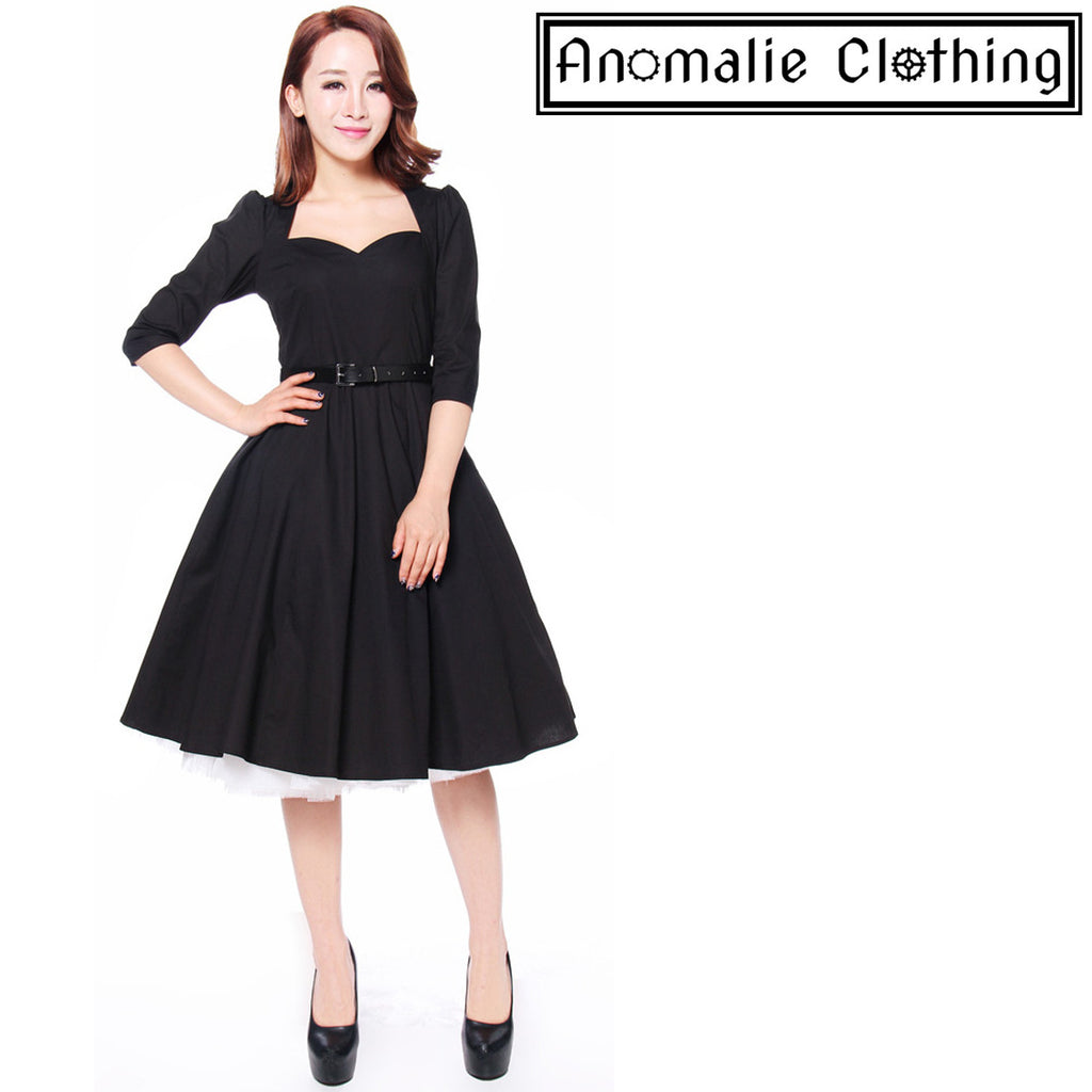 Black Bow Back Swing Dress