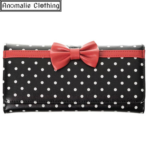 Carla Wallet with Polka Dots and Red Bow