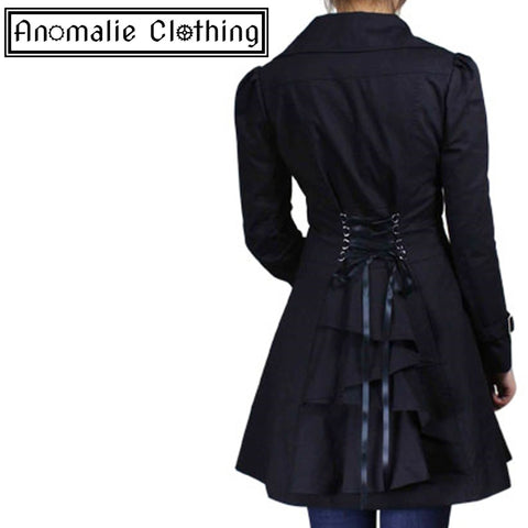 Black Lace-Up Ruffled Jacket