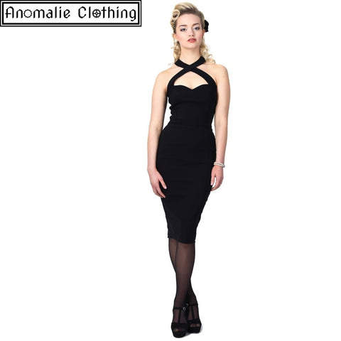 Penny Pencil Dress in Black - One Size UK 22 (AU 20) Left!