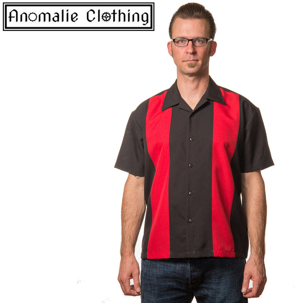 Black & Red Mini Panel Button Up Mens Shirt