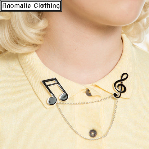 Music Note Collar Pins in Black and Silver