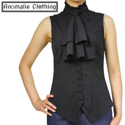 Black Sleeveless Steampunk Blouse - Discontinued