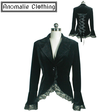 Gothic Lace Trim Corset Velvet Jacket in Black