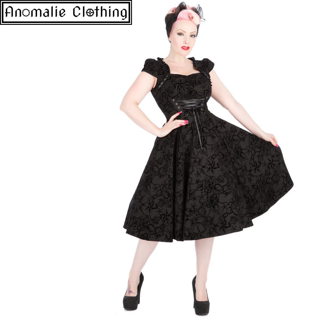 Black Flocked Victorian Dress