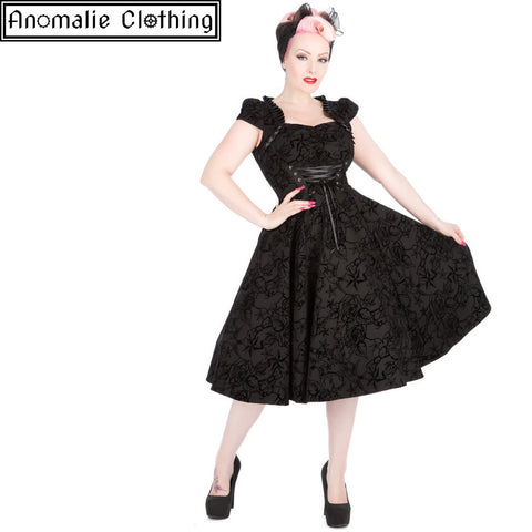 Black Flocked Victorian Dress - 1 UK 24 (AU 22) Left!