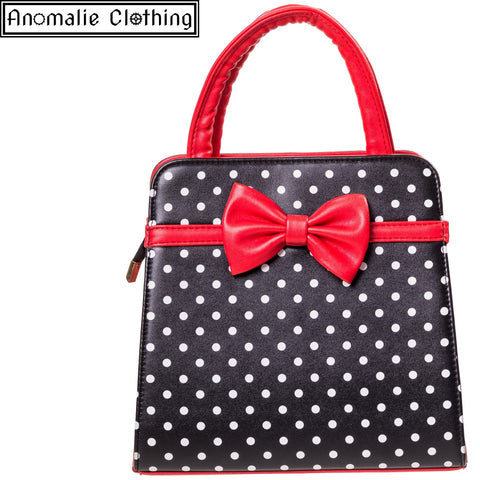 Carla Handbag in Black with White Polka Dots & Red Bow
