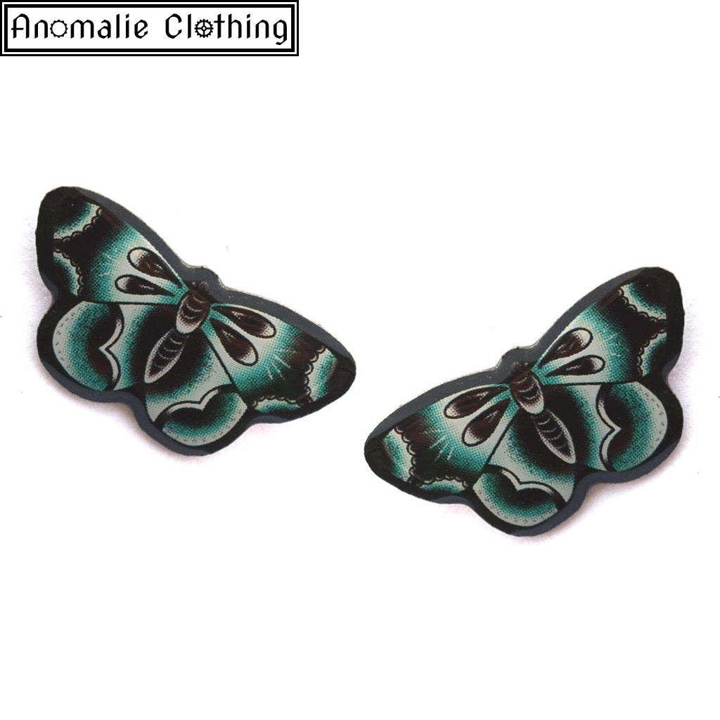 Blue Butterfly Stud Earrings - Discontinued