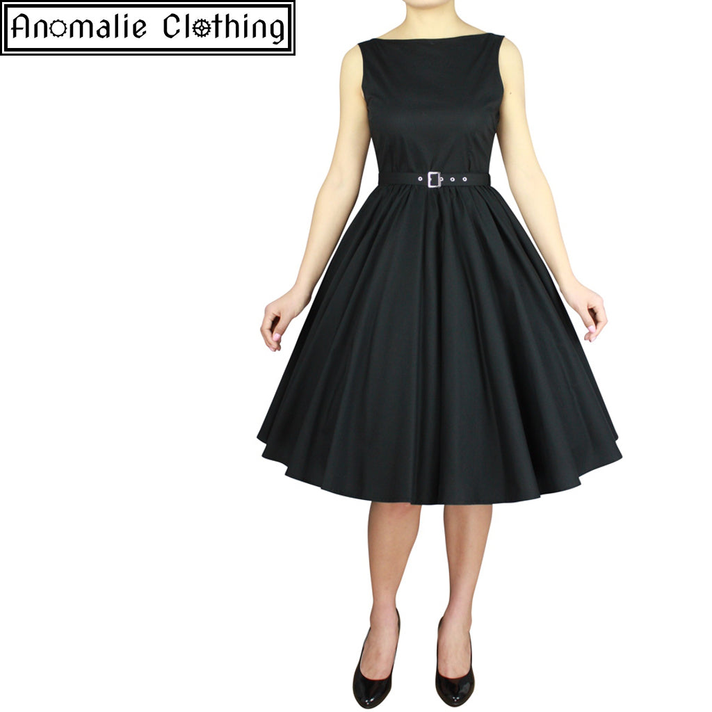 Sleeveless Belted Swing Dress in Black