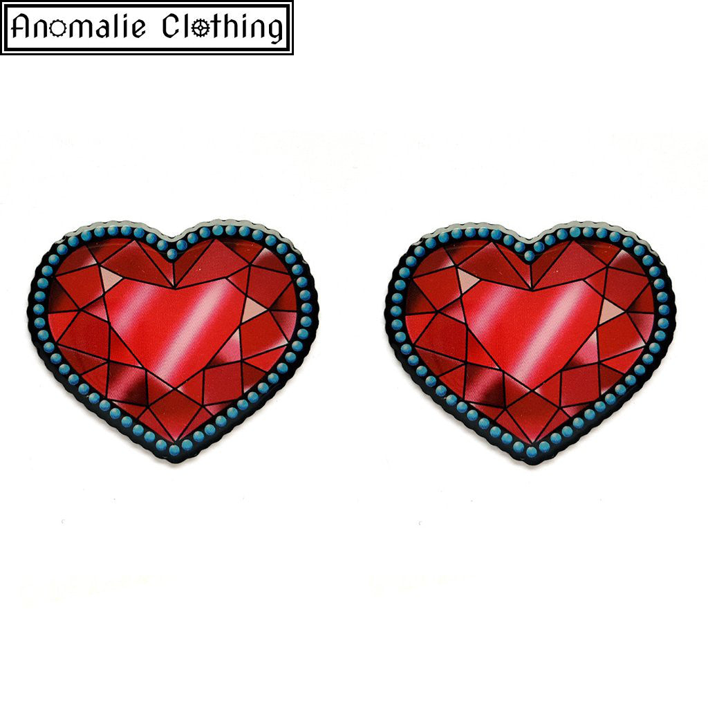 Crystal Heart Stud Earrings - Discontinued
