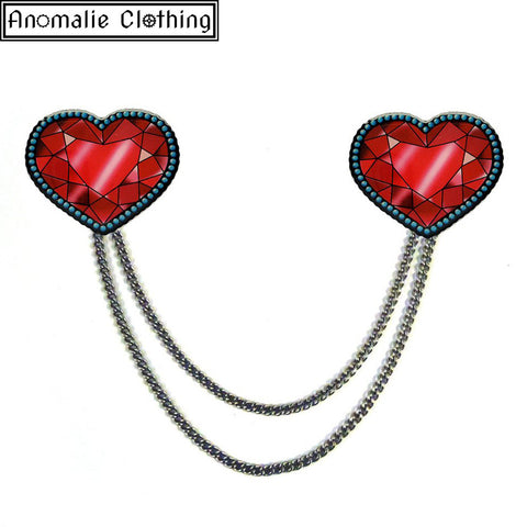 Crystal Heart Cardigan Clips - Discontinued