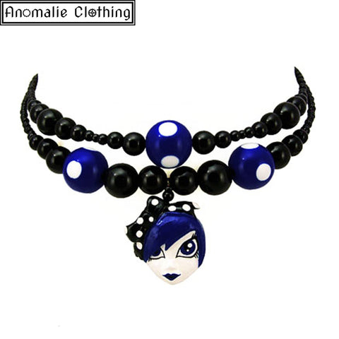 Dotti Blu Necklace in Black with Blue and White Polka Dots