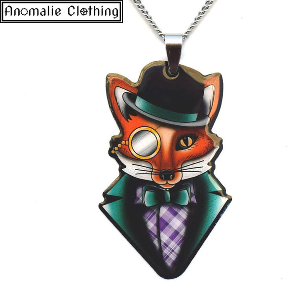 Felix The Dapper Fox Pendant Necklace