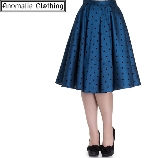Tara 50s Skirt in Blue with Black Polka Dots