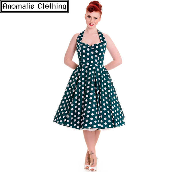 Mariam Dress in Teal and White Polka Dot
