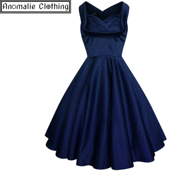 Elsa Swing Dress in Navy Blue Satin