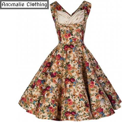 Ophelia Beige Floral Swing Dress