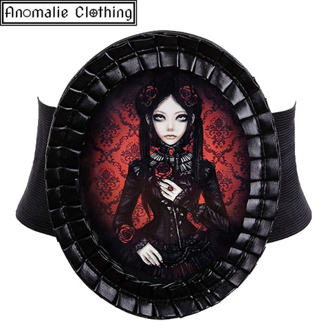 Red & Black Lolita Doll Decorative Wide Elastic Belt