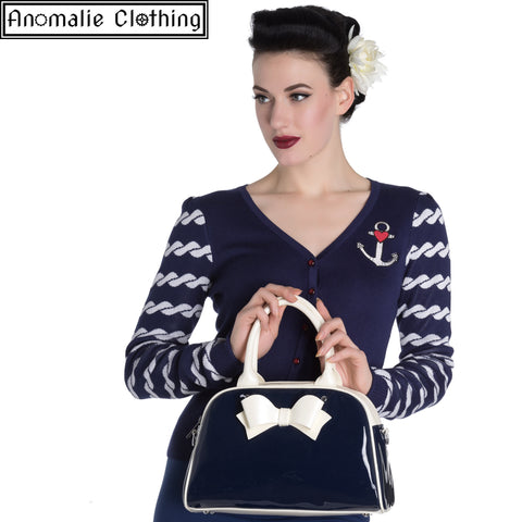 Navy Blue & White Lola Handbag