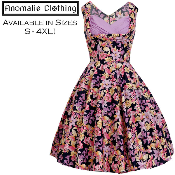 Purple Floral Print Elsa Dress
