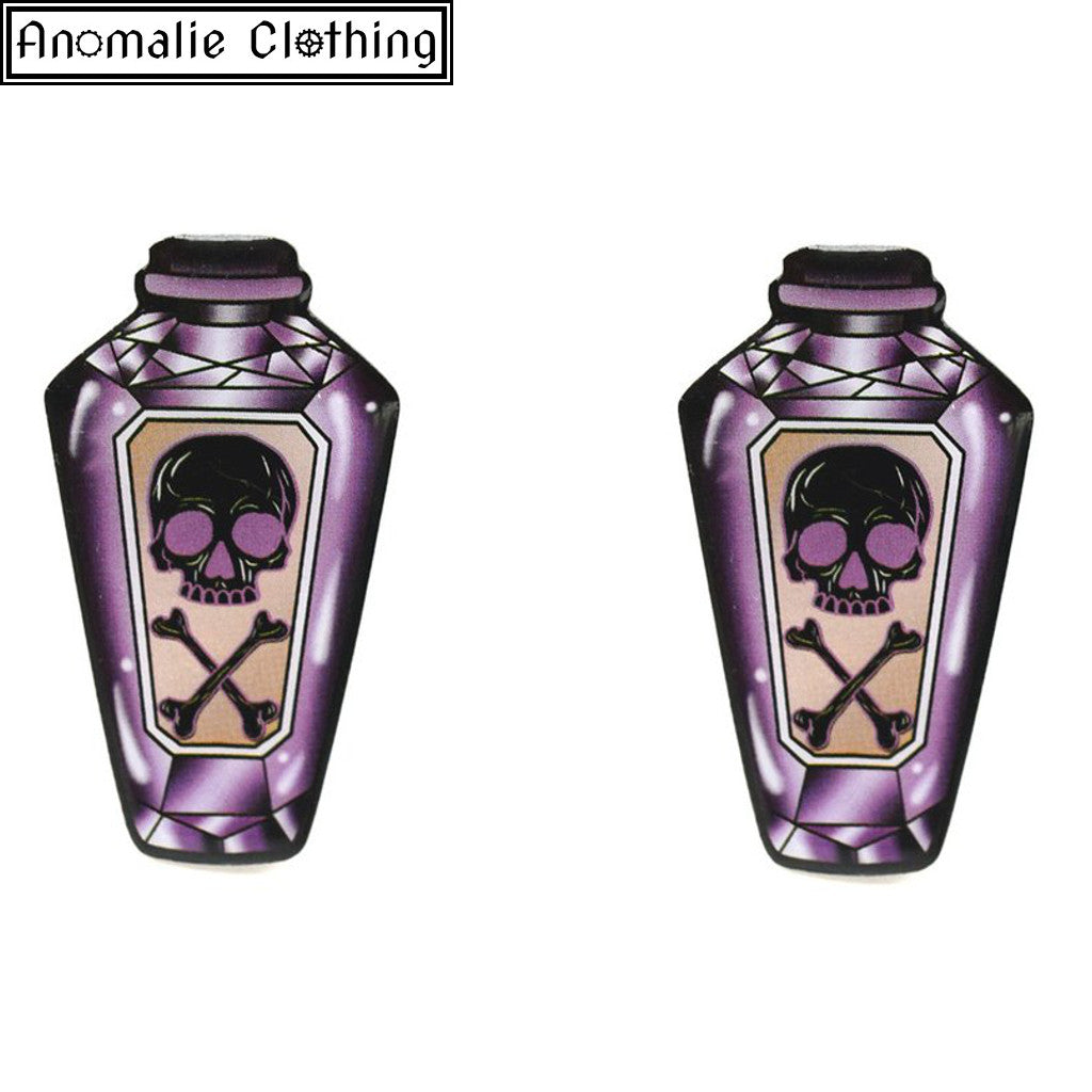 Purple Poison Bottle Stud Earrings