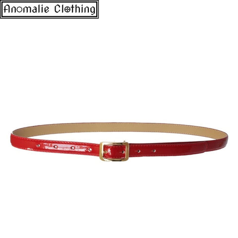 Martha Adjustable Patent PU Belt in Red