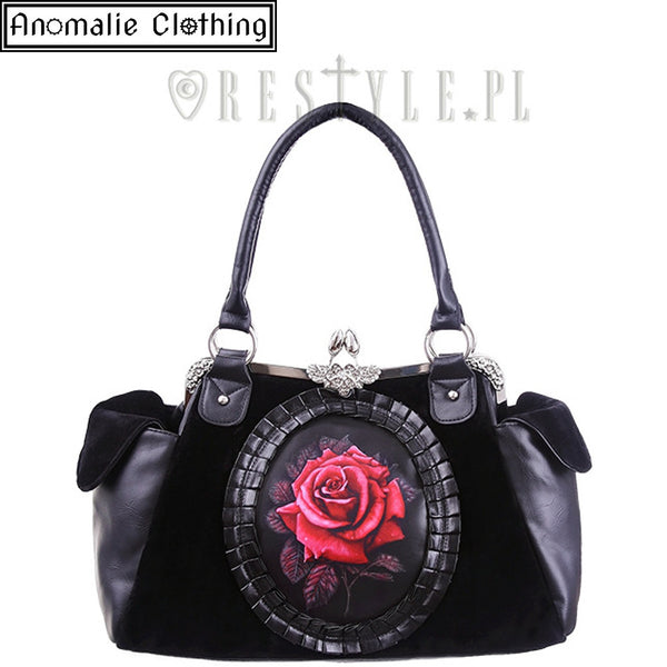 Red & Black Rose Handbag