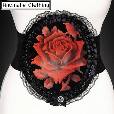Red & Black Rose Decorative Wide Elastic Belt