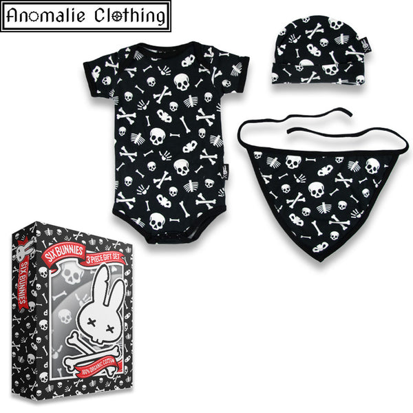Skulls 3 Piece Gift Set - Cap Romper and Bib