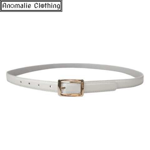 Martha Adjustable Patent PU Belt in White