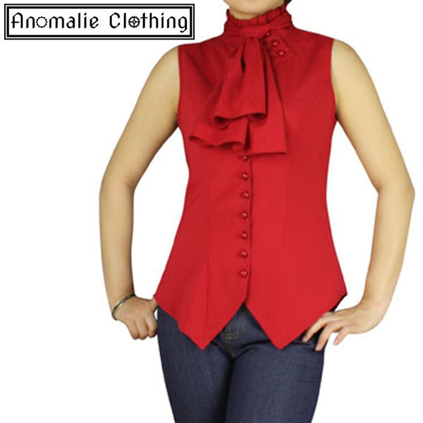 Red Sleeveless Steampunk Blouse - Discontinued