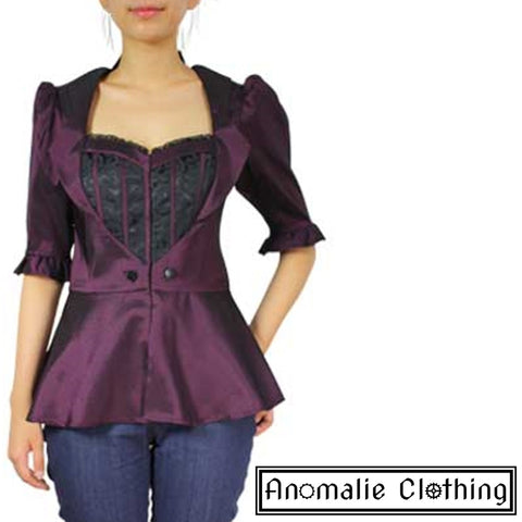 Purple & Black Faux Layered Blouse - Discontinued