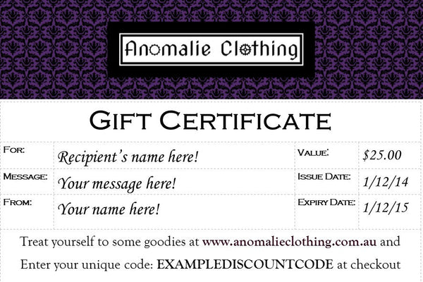 $25 Anomalie Clothing Gift Certificate