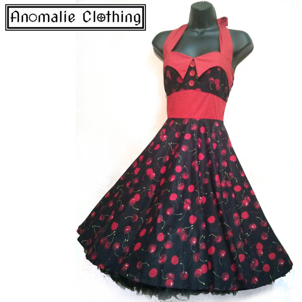 Black & Red Cherry Print Ashley Dress