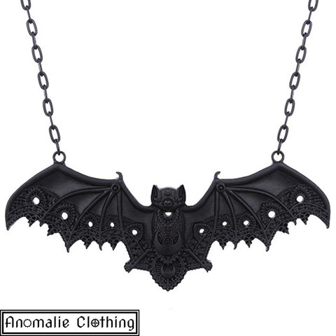 Black Lace Bat Pendant on Chain Necklace