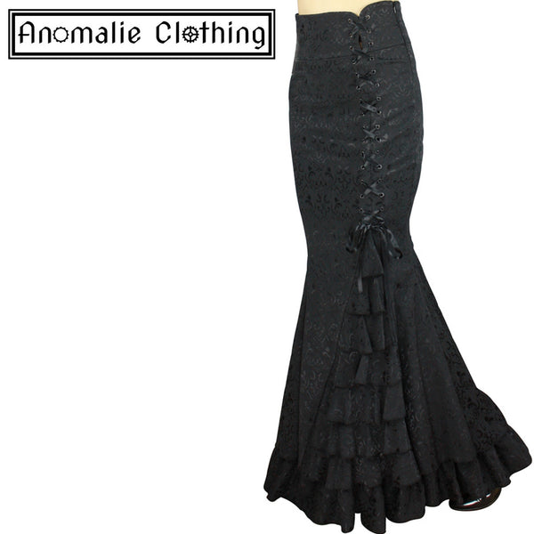 Black Jacquard Laces and Ruffles Fishtail Skirt