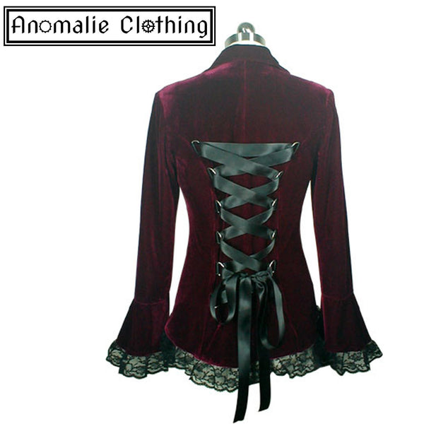 Gothic Lace Trim Corset Velvet Jacket in Burgundy