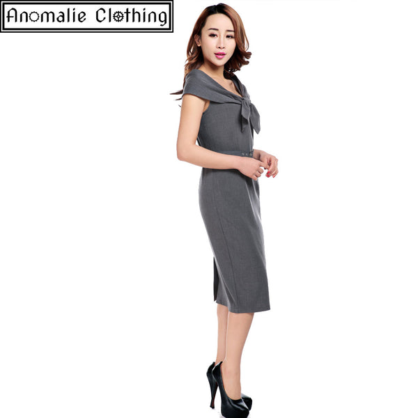 Grey Bow Collar Pencil Dress - Discontinued
