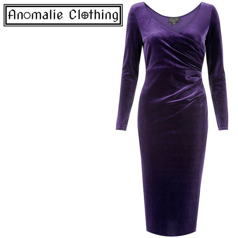 Marge Velvet Wiggle Dress in Gothic Grape - One Size UK 8 (AU 6) Left!