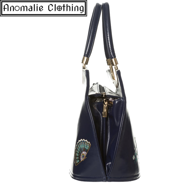 Mayuree Peacock Handbag in Navy Blue