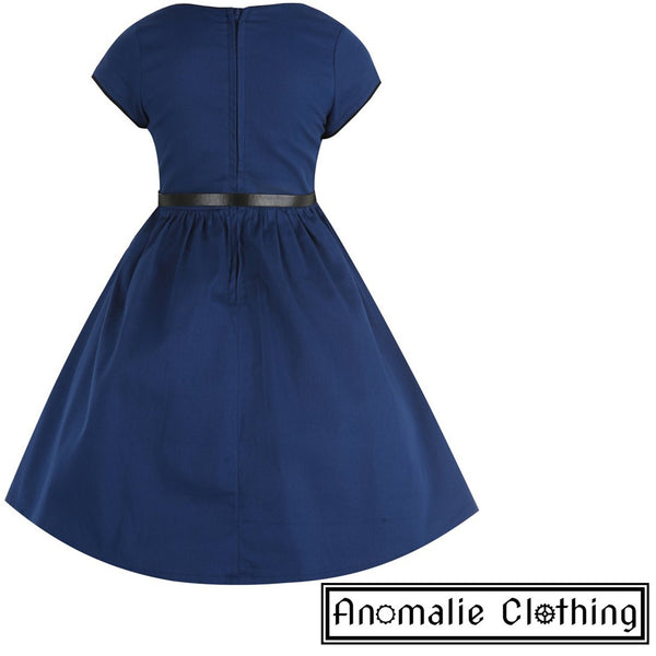 Navy Blue Mini Bella Children's Dress - One Age 5-6 Left!