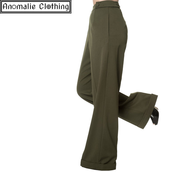 Party On Wide Leg Trousers in Olive