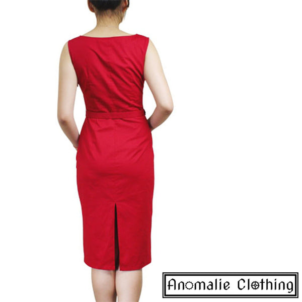 Red Sleeveless Pencil Dress - Discontinued